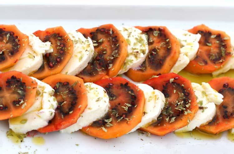 Tamarillo mozzarella tomate en arbre