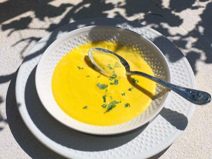 Pumkin soup potiron chorizo abobra