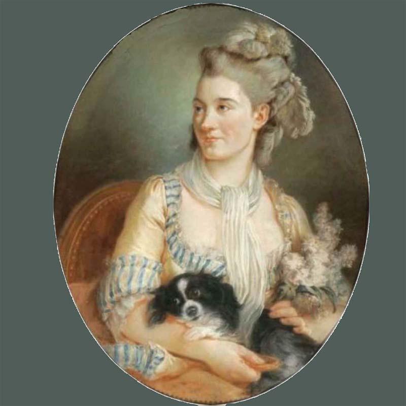 Femme au chien pastel