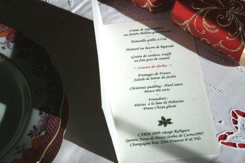 Christmas menu de Noel 2010 LOF