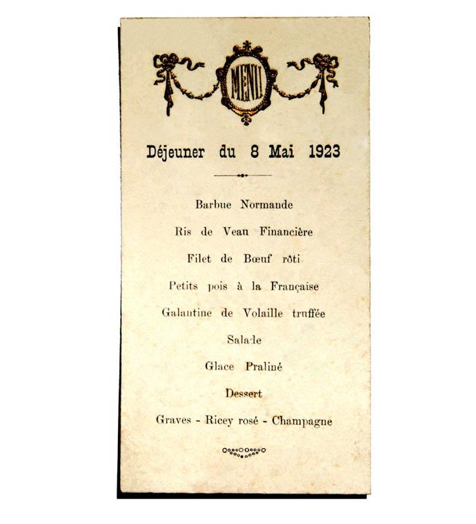 08 05 1923 Déjeuner menu