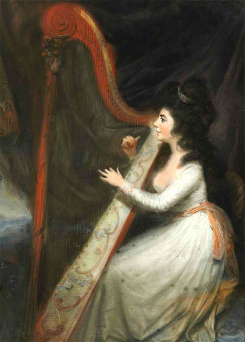 Emily La Touche à la harpe