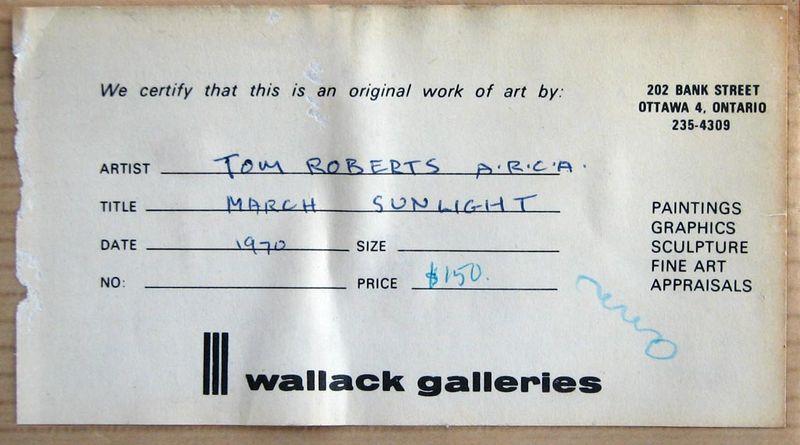 Tom Roberts lumière de mars 1970