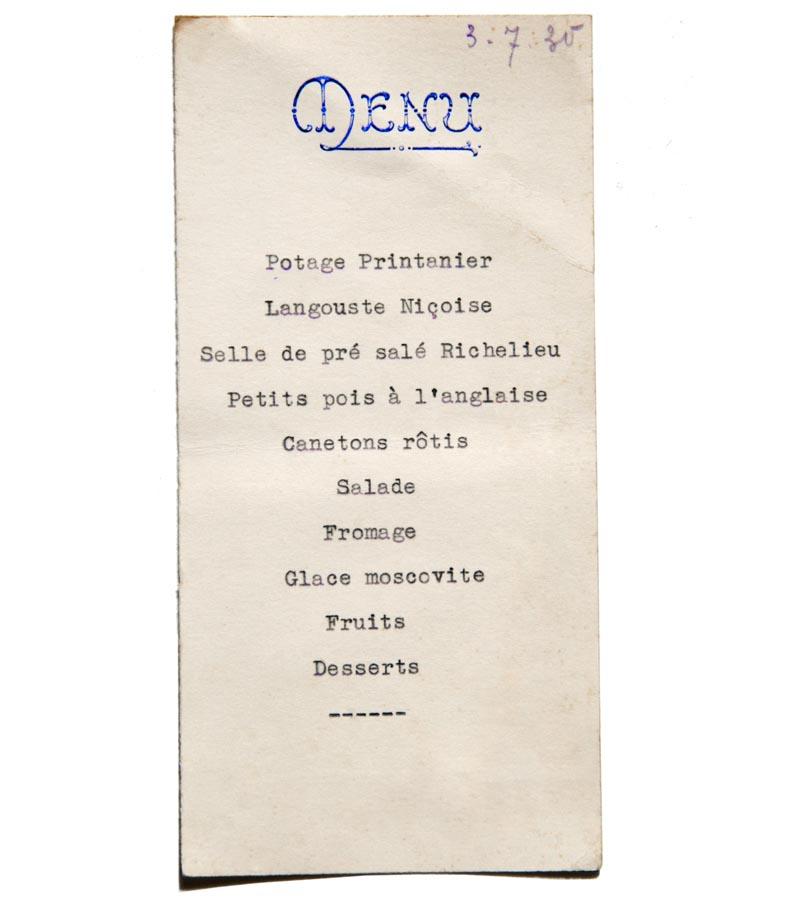 Menu du 3 07 1930