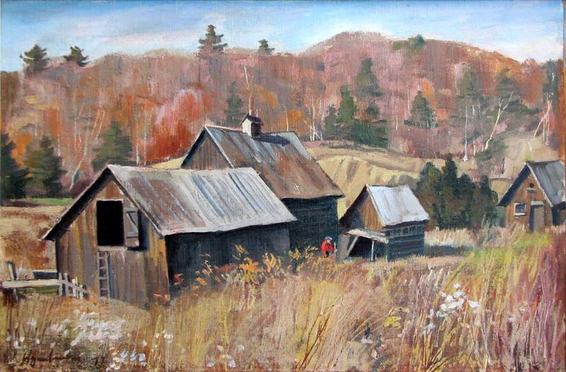 Robert Stewart Hyndman Very old Barns near Grand Lake PQ