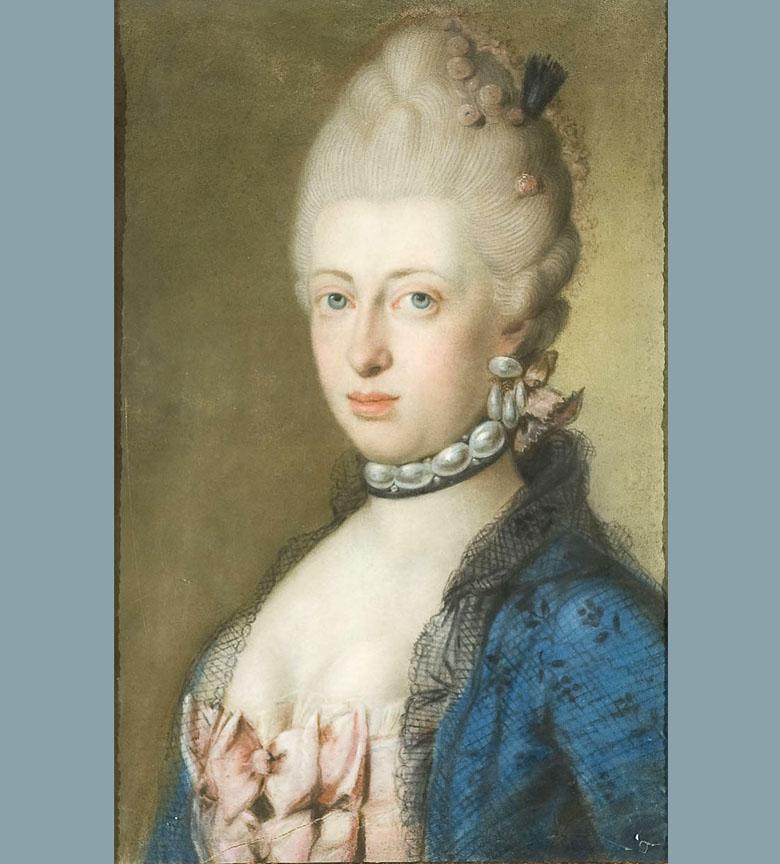 Collier de perle ecole italienne XVIII pastel